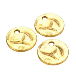2 x  Tibetaans zilveren muntjes goudkleur 19 x 1mm gat: 3mm (Nikkelvrij)