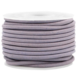 50cm DQ leer rond 3 mm Dark lilac purple - vintage finish