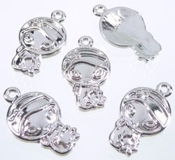 5x Tibetaans zilveren bedeltje van een Oosters meisje 25x14mm