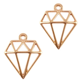 2 x DQ metalen bedels diamant rose gold (nikkelvrij)  	ca. 18x16mm (Ø1.2mm)