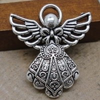 Engel bedel Tibetaans Zilver  23 x 26mm oogje c.a. 1,5mm