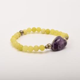 Per stuk Prachtige kralenarmband geel/zilver met elastiek, voorzien van mooie edelsteen