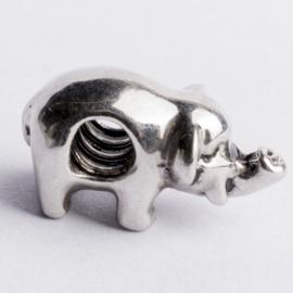 Be Charmed olifant kraal zilver met een rhodium laag (nikkelvrij) c.a.18x 9mm groot gat: 4mm