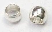 100 stuks verzilverde knijpkralen c.a. 3 mm. Gat 2 mm