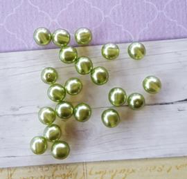 Nieuw! 25 x transparante DQ glasparel 8mm kleur: Olive