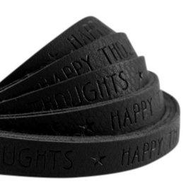 20 cm Plat imi leer 10mm met quote Happy thoughts Black