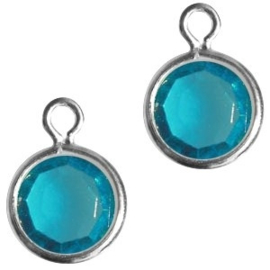 2 x DQ facethanger gekleurd Zilver-azuur blauw 7x10 mm