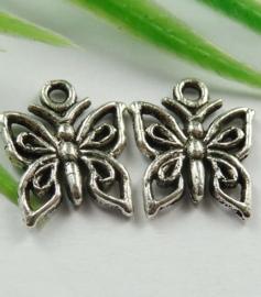 10x Tibetaans zilveren bedel vlinder 15mm x 12mm
