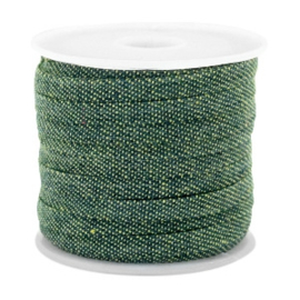 Per 40 cm Trendy plat koord denim 5mm Dark green