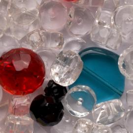 Mix zakje c.a. 100 gram Tsjechië kraal kristal facet disc en rond 8mm kleur: transparant en meerkleurig gat: 1mm