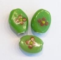 Per stuk European-style kraal ovaal Groen met bloem 20 mm