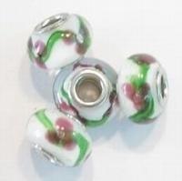 Per stuk Glaskraal European-style wit met bloem 14 mm