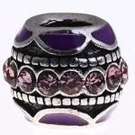 Schitterende European Jewelry kraal van metaal met strass 9 x12mm, gat: 5mm