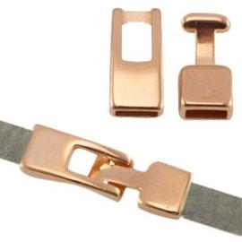 1x DQ metaal haaksluiting (voor 5mm plat leer) Rosé goud