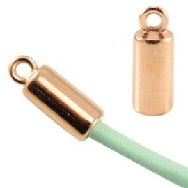1x DQ metaal eindkap voor 3mm leer/draad Rosé goud 16x6 mm Ø 3.0 mm