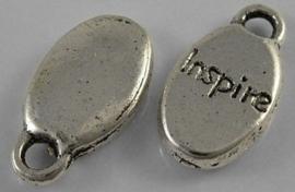 """10 stuks Tibetaans zilveren bedeltjes """"inspire"""" 8,5 x 15,5 x 3mm gat 2,5 mm"""