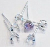 8 stuks Zilverkleurige metalen oorstekers met ruimte voor 6 mm piny steentje