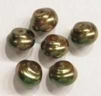 10 stuks Glasparel slakkenhuisje Groen/brons 7 x 8mm