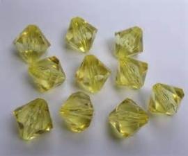 10 Stuks Glaskraal facet konisch licht geel 8 mm