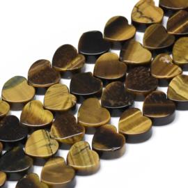 2 x hart kraal van tijgeroog 10 x 10 x 5mm gat: 1,5mm