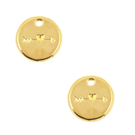 2 x Bedels DQ metaal 12mm rond arrow & heart Goud ca.12mm (Øca.1.7mm)