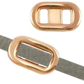 1x DQ metaal schuiver gesp (voor 5mm plat leer) Rosé goud 22x13 mm