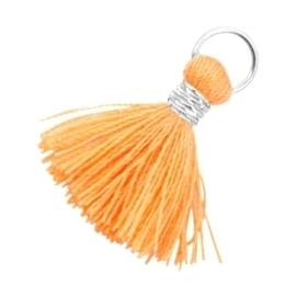 2 x Kwastjes Ibiza style 2cm Zilver-Coral orange