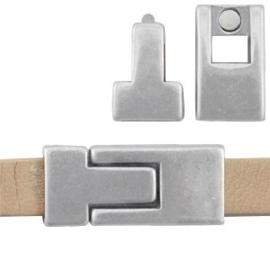 1x DQ metaal magneetslot 30 x 13 mm voor 10 mm plat leer Antiek Zilver
