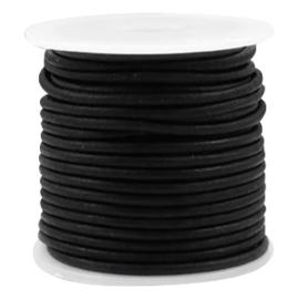 50cm  DQ runder lederen rond 2 mm zwart