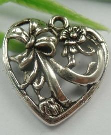 2x Tibetaans zilveren bedel - hanger van een hart 25 x 22,5 x 4mm Gat: 2mm