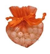 20 stuks luxe hartvormige organza zakjes 10cm x 8.75cm oranje