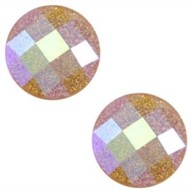 2 x Basic cabochon 10mm Dark topaz glitter diamond