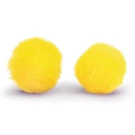 5 x Pompom bolletje 8mm Yellow ~zonder oogje
