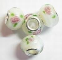 Per stuk Glaskraal European style Wit met bloem 14 mm