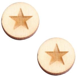 2 x Houten cabochon basic 12 mm star large White wood ( natuurlijke kleur van het hout)