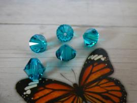 10 x Preciosa Kristal Bicone blue zircon  8mm  gat: 1mm