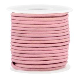 50cm  DQ leer rond 2 mm Rouge pink - vintage finish