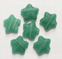 10 Stuks Glaskraal ster mat groen gemeleerd 12 mm