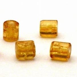 30 stuks crackle glas kralen cilinder vorm 7 x 8mm topaz