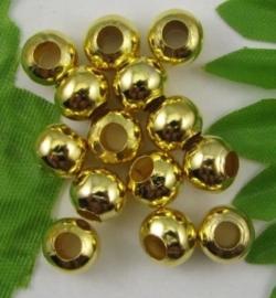"""100 stuks """"gouden"""" kraaltjes, 3,2mm metaal nikkelvrij gat c.a. 1,5mm"""