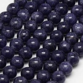 20 x half edelsteen kraal natuur Jade Indigo purple blue 6 mm