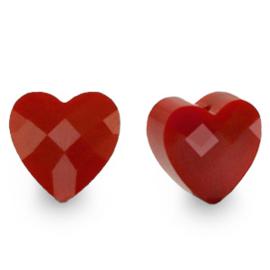 1 x Fashion Facet kralen hart Crimsom red 10mm gat: 1,2mm
