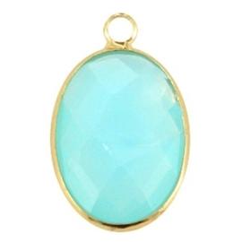 Crystal glas hanger ovaal 13x18mm Aqua blue opal-Gold