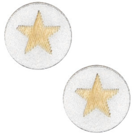 1 x Houten cabochon star 12mm Wit