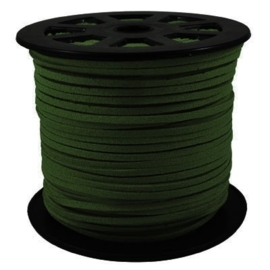 Faux suède veter, donker  groen 1 meter x 3mm