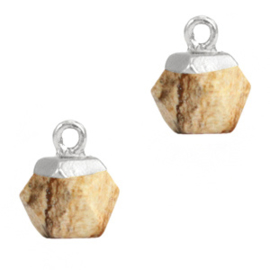 1 x Natuursteen hangers hexagon Light brown-silver Picture Jasper