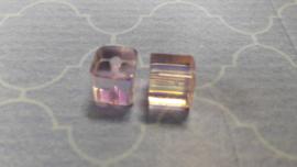 10 x Roze AB Transparant Glaskraal 11 x 11 mm Gat 1mm