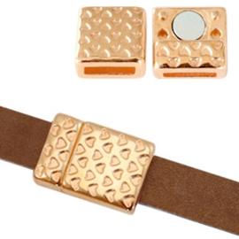 1 x Onderdelen DQ metaal magneetslot hartjes print Ø10x2mm Rosé goud