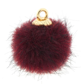 2 x Pompom bedels faux fur 16mm goud Rood