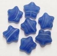 10 stuks Glaskraal ster mat kobald-blauw 10 mm
